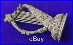 ANTIQUE Vintage Victorian Irish Bog Oak Hand Carved Folk Art Musical Harp Figure