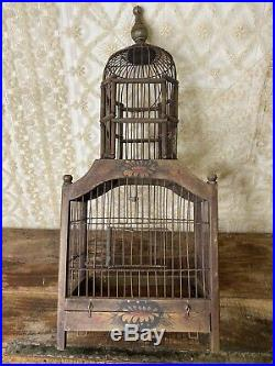ANTIQUE Vintage Wooden Metal Hand Painted WOOD Wire VICTORIAN DOME BIRD CAGE