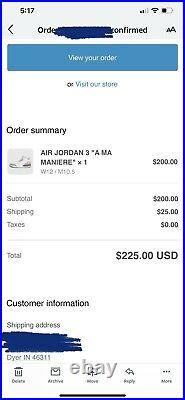 A Ma Maniere x Womens Air Jordan 3 Retro IN HAND Size 12With10.5M Ships Fast
