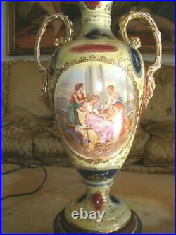 Amazing Antique Sevres Style Porcelain Hand Painted Cherub Lamp Silk Shade