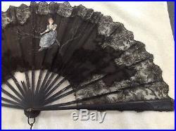 Antiq Victorian Era French Blk Lace Hand Painted Lge Hand Fan Lady Tree Restorat
