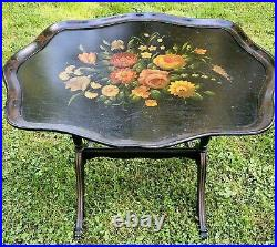 AntiqueEBONIZED&HAND PAINTED WOOD FOLDING TRAY TABLE, 22.5H X 28.5W X 23D