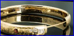 Antique 14K Rose Gold Hand Chased and Garnet Victorian Bangle