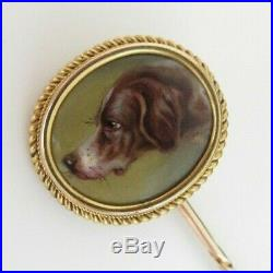 Antique 14ct Gold Stick Pin Hand Painted Hunting Dog'Bell' in Victorian Pin Box