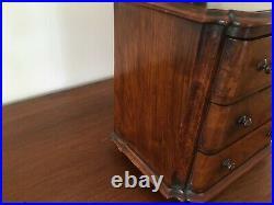 Antique 1800's Hand Made Salesman Sample Mohogany Dresser with Burl Wood Veneer