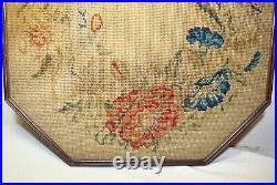 Antique 1800's Victorian hand made embroidered floral needlepoint art embroidery