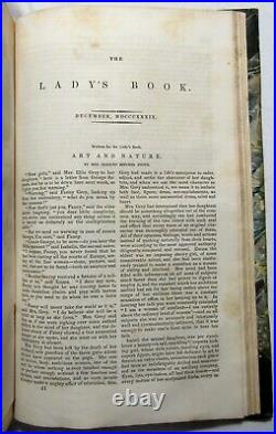 Antique 1839 GODEY'S THE LADY'S BOOK Hand Colored Plates HARRIET BEECHER STOWE