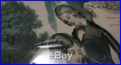 Antique 1848 VICTORIAN MOURNING Mother's Grave HAND COLORED PRINT James Baillie