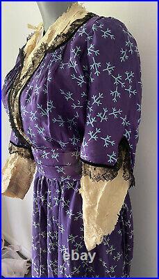 Antique 1850's Purple Patterned Silk Dress- Hand-Sewn, Black Lace N Velvet Trim