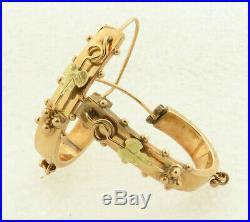 Antique 1860-1880 Hand Made 14 kt Rose Gold Victorian Hoop Earrings