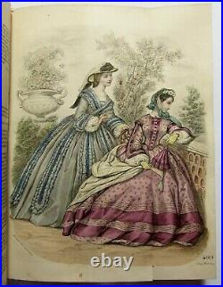 Antique 1862 BELLE ASSEMBLEE Bound Lady's Magazine HAND COLORED FASHION PLATES