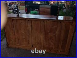 Antique (1870s) Victorian hand carved sideboard with beveled mirror topper