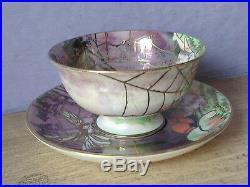 Antique 1880's Victorian Hand Painted ceramic pottery fairy art tea cup teacup
