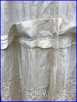Antique 1880's Victorian Lace Bustle Petticoat 18 Of Hand Made Lace And Pintuck