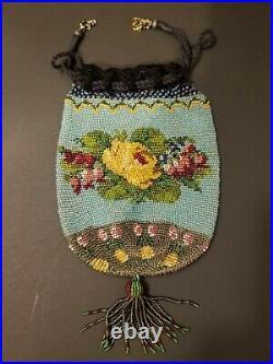 Antique 1880s Micro Bead Yellow Roses Drawstring Hand Bag 5 x 7 EUC