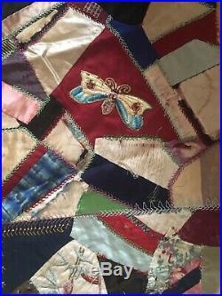 Antique 1880s Victorian Hand Stitched Silk Patchwork Crazy Quilt 68 X 66
