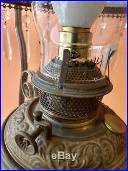 Antique 1880s Victorian Library Hanging Oil Lamp Hand Painted Floral Shade