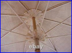 Antique 1890 Embroidered Raw Silk Parasol Hand Carved Butterfly Knob