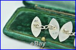 Antique 1903 Victorian Sterling Silver cufflinks with a Hand Engraved design #R3