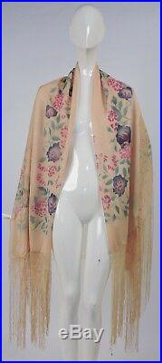 Antique 1920s Hand Painted Woven Shawl For Dress W Long Silk Fringe