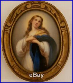 Antique 19th C. Framed Victorian Oval Portrait KPM Hand Painted Porcelain Plaque