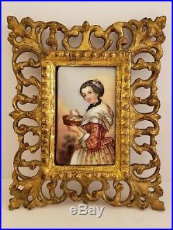 Antique 19th C. Framed Victorian Portrait KPM Hand Painted Porcelain Plaque