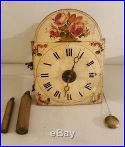 Antique 19th C. German Victorian Wag On Wall Clock with Hand Painted Dial c. 1830