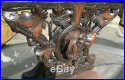 Antique 19th Century Black Forest Hand Carved Wood Smokers Chair Hall Chair