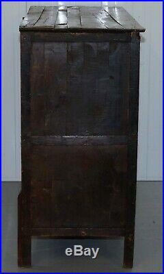 Antique 19th Century Hand Painted Tibetan Alter Cabinet Hand Carved Cedar Wood