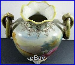 Antique 19th Century Nippon Hand Painted Footed Beaded Urn Vase Roses Handles