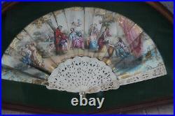Antique 19thc Victorian hand paint fan wood frame glass putti angel scene