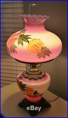 Antique 3 Way Hand Painted Purple Floral Gone With the Wind Table Lamp