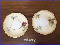 Antique A&D Limoges Hand-Painted CHOCOLATE POT with CUPS & SAUCER SETS Pansies