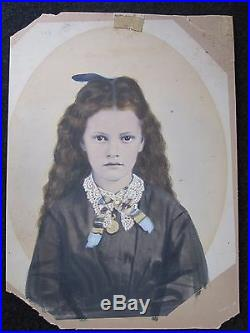 Antique Artistic Victorian Angel Girl Hand Colored Couture Pendant Fine Photo
