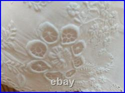 Antique Ayrshire Dress Hand Embroidery Christening Victorian White Cotton Vintag