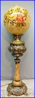 Antique Banquet Parlor Oil Lamp Marble Metal Hand Painted Round Globe Electric