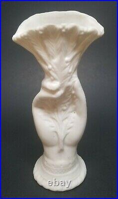 Antique Bennington Pottery Parian Ware Porcelain Victorian Hand Vase 6-1/2 Fern