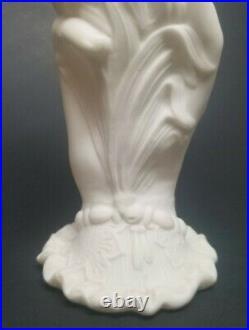 Antique Bennington Pottery Parian Ware Victorian Hand Spill Vase 6-1/2 CATTAILS