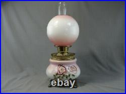 Antique Brass Fostoria Glass Co. GWTW Hand Painted Floral Oil Lamp Pink Purple