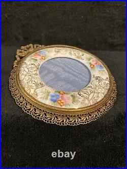 Antique Bronze Or Brass Filigree Frame with Hand Painted Porcelain-442