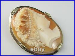 Antique Cameo Brooch Pin Shell Hand Carved Estate Victorian Period Vintage