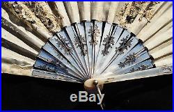 Antique Carved Mother Pearl Hand Painted Hand Fan