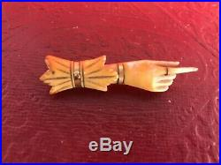 Antique Carved Victorian Pointed Finger HAND BROACH Pin Gold Accent Stay Away