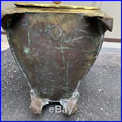 Antique Coal Hod Brass Victorian Era H F Co Fireplace Pellet Stove Hand Chased