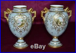 Antique Coalport Small Twin Handled Urn Vases Hand Painted Panels Pair of A\F