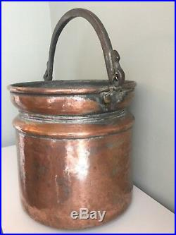 Antique Copper Bucket Log Bin Coal Store Hand Forged Wrought Iron Handle Pail