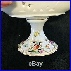 Antique Dresden Floral Reticulated Miniature Compote Dish Hand Painted