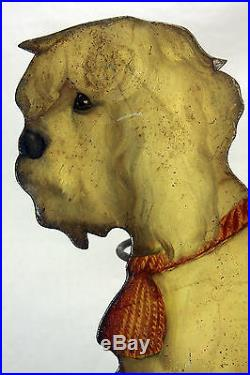 Antique Early Victorian Hand Painted Sitting Dog Umbrella / Cane Stand