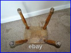 Antique Elm Wood Milking Stool on Four Hand-Turned Legs with Rectangular Seat