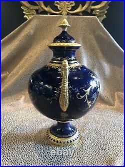 Antique English Coalport Hand Painted Prussian Blue Porcelain Urn Gilt Details